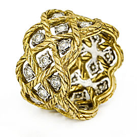 Buccellati Etoilee Diamond Wide Band Ring in 18k Yellow and White Gold