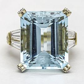 Aquamarine Diamond Statement Ring in 18k White and Yellow Gold ( 22.02 ct tw )