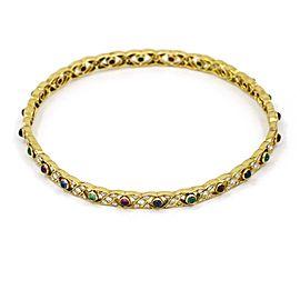 Vintage Diamond Sapphire Emerald Ruby Bangle Bracelet in 18k Yellow Gold