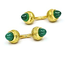 Green Chalcedony Acorn Cufflinks in 18k Yellow Gold French