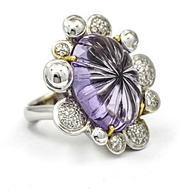 Carved Amethyst Diamond Statement Ring in 18k White Gold ( .50 ct tw )