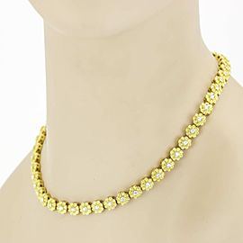 Flowers with Diamonds Link Choker Necklace in 18k Yellow Gold ( 3.00 ct tw )