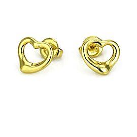Tiffany & Co. Elsa Peretti Open Heart Stud Earrings in 18k Yellow Gold
