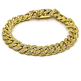 Pave Diamond Curb Cuban Link Chain Bracelet in 14k Yellow Gold ( 5.60 cttw )