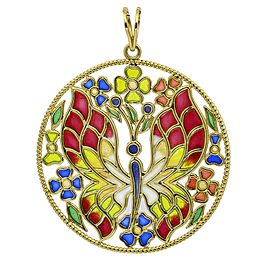 Plique-A-Jour Butterfly Statement Pendant in 18k Yellow Gold