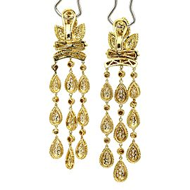 Pave Diamond Chandelier Earrings in 18k Yellow Gold ( 5.00 cttw )