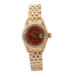 Rolex Datejust 6901 Automatic 18k Yellow Gold Jubilee Bracelet Wooden Dial 27mm