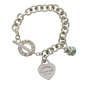 Return To Tiffany & Co. 925 Silver Heart Enamel Cupcake Ribbon Charm Bracelet 7""