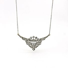 Diamond Edwardian Brooch Pendant Necklace 14k Gold Platinum (3.25 ct t.w.)