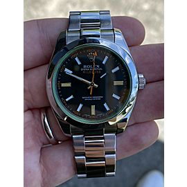 Rolex Milgauss Black Dial Green Crystal Scrambled Serial Watch 116400GV