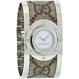 Gucci YA112418 Twirl Bangle Silver Stainless Stee Quartz Lady's Watch 23mm