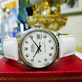 Mens Vintage ROLEX Oyster Perpetual Datejust 36mm White Diamond Dial Watch