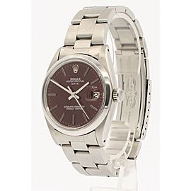 Mens Vintage ROLEX Oyster Perpetual Date 34mm RED Dial Stainless Watch