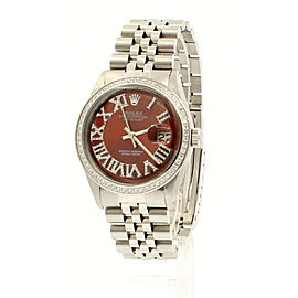 Mens Vintage ROLEX Oyster Perpetual Datejust 36mm RED Color Diamond Dial Watch