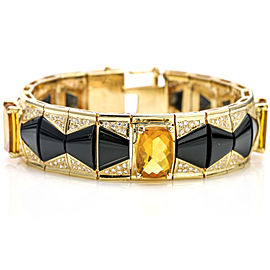Citrine Onyx Diamond Link Bracelet in 14k Yellow Gold