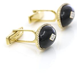 Oval Onyx Diamond Cufflinks in 18-karat Yellow Gold