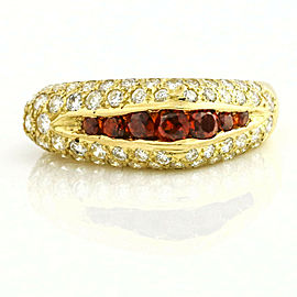 Garnet and Diamond Asymmetrical Band Ring in 18k Yellow Gold ( 1.20 ct tw )