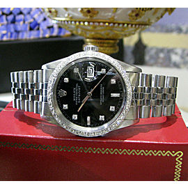 Mens Vintage ROLEX Oyster Perpetual Datejust 36mm Black Color Diamond Dial Watch