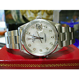 Mens Vintage ROLEX Oyster Perpetual Date 34mm MOP Dial Diamond Stainless Watch