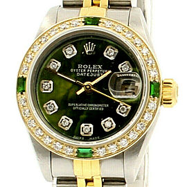 ROLEX Oyster Perpetual 18k & Steel Datejust 26mm Green MOP Dial Diamond Watch