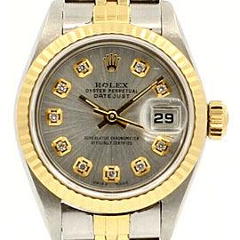 ROLEX Oyster Perpetual 18k & Steel Datejust 26mm SILVER Dial Diamond Watch