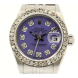 Ladies ROLEX Oyster Perpetual Datejust 26mm PURPLE Dial Diamond Bezel Watch