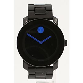 MOVADO BOLD SERIES BLACK & BLUE ACCENTS SWISS 43MM WATCH