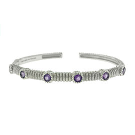 Judith Ripka Sterling Silver Amethyst Cuff Bangle