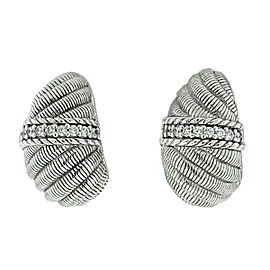 Judith Ripka Cz Sterling Silver Clip On Earrings
