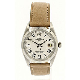 Mens Vintage ROLEX Oyster Perpetual Date 34mm WHITE Color Roman Dial Watch