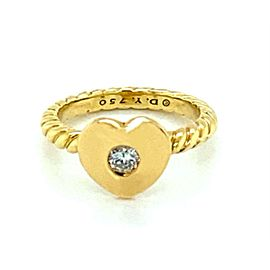 David Yurman Diamond 18k Yellow Gold Heart Cable Ring