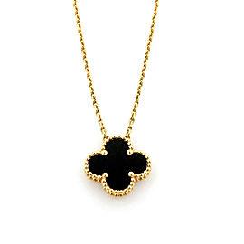 Van Cleef & Arpels Vintage Alhambra Onyx 18k Yellow Gold Pendant