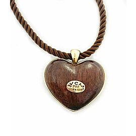 Vintage Van Cleef & Arpels 18k Yellow Gold Puffed Wood Heart Cord Necklace