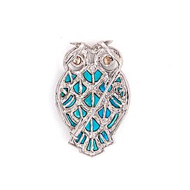 Champagne Diamond Turquoise 18k White Gold Owl Pendant Pin Brooch