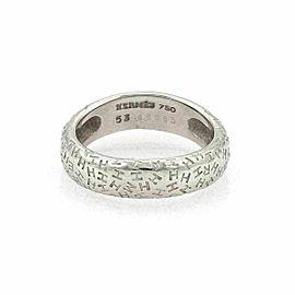 Hermes Grafitti H Logo 18k White Gold 5.5mm Band Ring Size 53