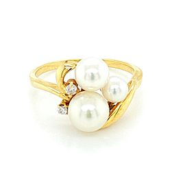 Mikimoto Akoya Pearls Diamond 18k Yellow Gold Ring