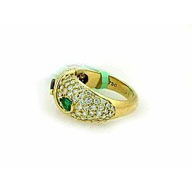 Hammerman Brothers 1.50ct Diamonds Ruby & Emerald 18k Yellow Gold Ring