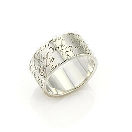 Tiffany & Co. Notes Sterling Silver 10mm Wide Band Ring