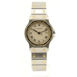 Cartier Santos Octagon Stainless Steel Gold Date 30mm Men's Watch
