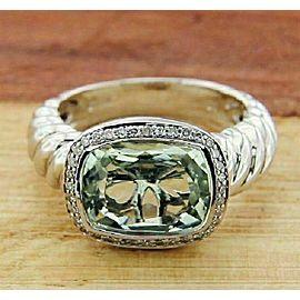 Solid Sterling silver Diamond & Green Topaz Designer Engagement Ring »R32