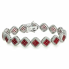 13.60 CT Natural Ruby & 2.75 CT Diamonds 18K White Gold Bracelet 7.5""