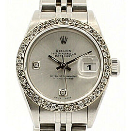 ROLEX Oyster Perpetual Datejust Steel 26mm Silver Dial Diamond Watch