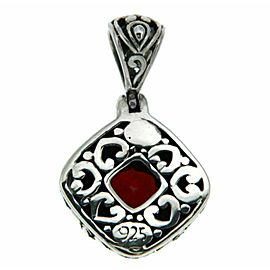 ¦Solid Sterling Silver Bali Bezel Set Red Garnet Pendant » P44 BRAND NEW!!