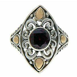 925 Sterling Silver & 14 K Gold Garnet Die-Cut Ring»R22