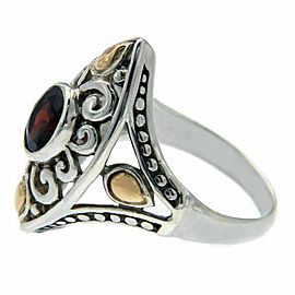 925 Sterling Silver & 14 K Gold Garnet Die-Cut Ring»R22