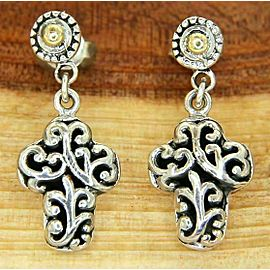 925 Sterling Silver 14 K Gold Scroll Swirl Gothic Cross Dangle Earring»E115