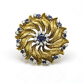 Blue Sapphire and Diamond Floral Brooch in 18k Yellow Gold ( 1.60 ct tw )