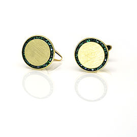 Lucien Piccard Emerald Engravable Cufflinks in 14k Yellow Gold