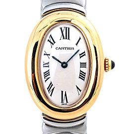 Cartier Baignoire W15045D8 Lady's Quartz Watch 18K Two Tone Off White Dial 23mm