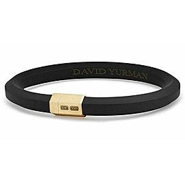 DAVID YURMAN 18K SOLID GOLD & BLACK RUBBER HEX 10.5 mm BRACELET sz M NEW BOX 41B